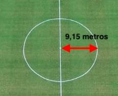 distancia del centro al borde de la circunferencia del circulo central de una cancha de futbol, radio del circulo central es de 9.5 metros o 10 yardas